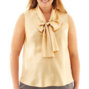 Black Label by Evan-Picone Sleeveless Bow Blouse - Plus