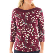 St. John's Bay® 3/4-Sleeve Embellished Boatneck Top