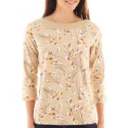 St. John's Bay® 3/4-Sleeve Embellished Boatneck Top