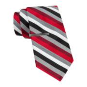 JF J. Ferrar® Heather Multi-Stripe Tie and Tie Bar Set - Slim