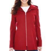 Avanti Zip-Front Hooded Wool-Blend Coat - Talls