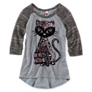 Knit Works 3/4-Sleeve Graphic Top - Girls 7-16