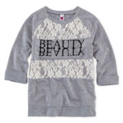 Beautees 3/4-Sleeve Lace-Trim Sweatshirt - Girls 7-16