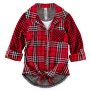 Beautees Plaid Tie-Front Shirt and Tank - Girls 7-16