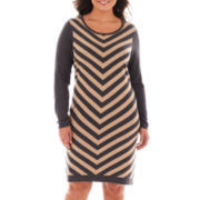 Worthington® Long-Sleeve Chevron Print Dress - Plus