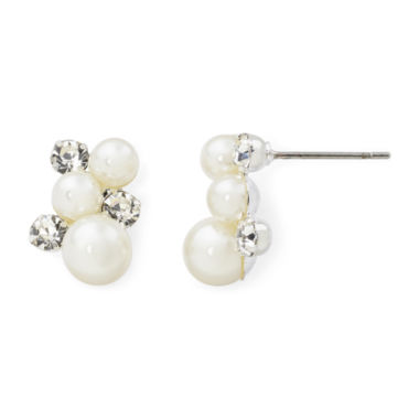 jcpenney.com | Vieste® Simulated Pearl and Crystal Cluster Stud Earrings