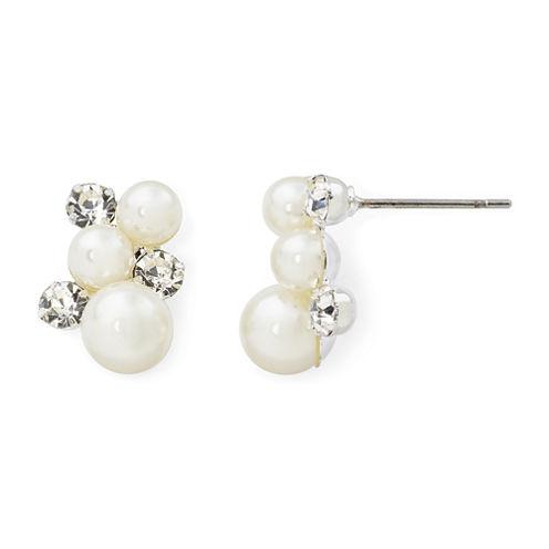 Vieste® Simulated Pearl and Crystal Cluster Stud Earrings