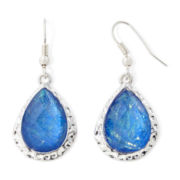 Arizona Iridescent Blue Stone Silver-Tone Hammered Teardrop Earrings