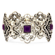 Arizona Purple Stone Silver-Tone Stretch Bracelet