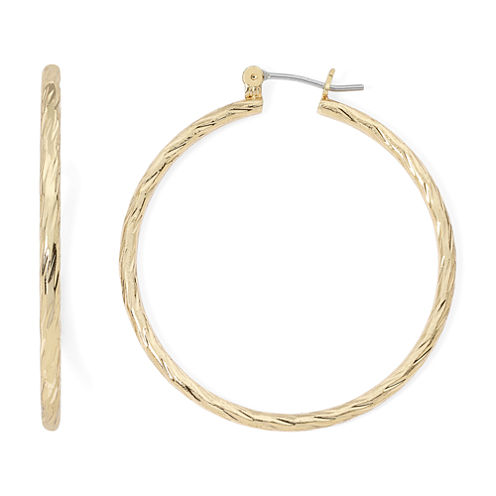 Sensitive Ears Diamond-Cut Gold-Tone Hoop Earrings