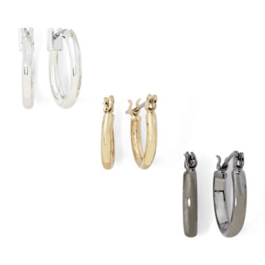 jcpenney.com | Sensitive Ears Tri-Tone 3-pr. Hoop Earring Set