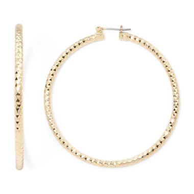 jcpenney.com | Sensitive Ears Diamond-Cut Gold-Tone Hoop Earrings