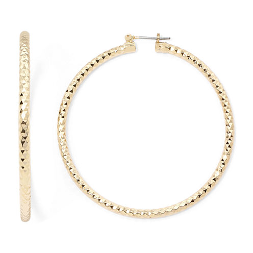 Sensitive Ears Diamond-Cut Gold-Tone Hoop Earrings