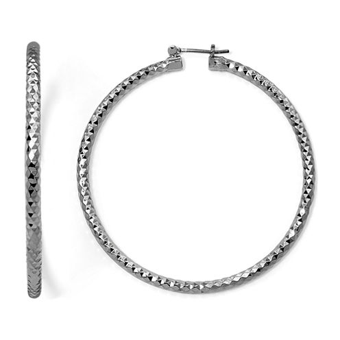 Sensitive Ears Hematite Diamond-Cut Hoop Earrings