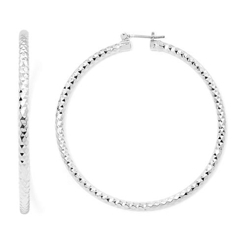 Sensitive Ears Silver-Tone Diamond-Cut Hoop Earrings