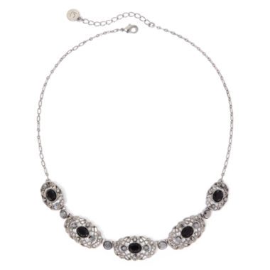 jcpenney.com | Liz Claiborne® Marcasite and Black Stone Silver-Tone Collar Necklace
