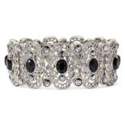 Liz Claiborne® Marcasite and Black Stone Silver-Tone Stretch Bracelet