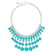 Liz Claiborne® Aqua Stone Silver-Tone Statement Necklace
