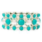 Liz Claiborne® Aqua Stone Silver-Tone Stretch Bracelet