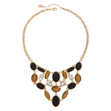 jcpenney.com | Monet® Black and Topaz-Look Stone Gold-Tone Bib Statement Necklace