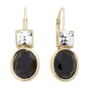 Monet® Crystal-Accent Black Stone Drop Earrings
