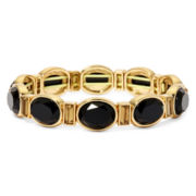 Monet® Black and Topaz-Look Stone Gold-Tone Stretch Bracelet