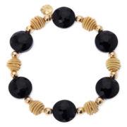 Monet® Black Bead Gold-Tone Stretch Bracelet