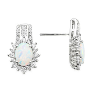 jcpenney.com | Lab-Created Opal and White Sapphire Sterling Silver Earrings