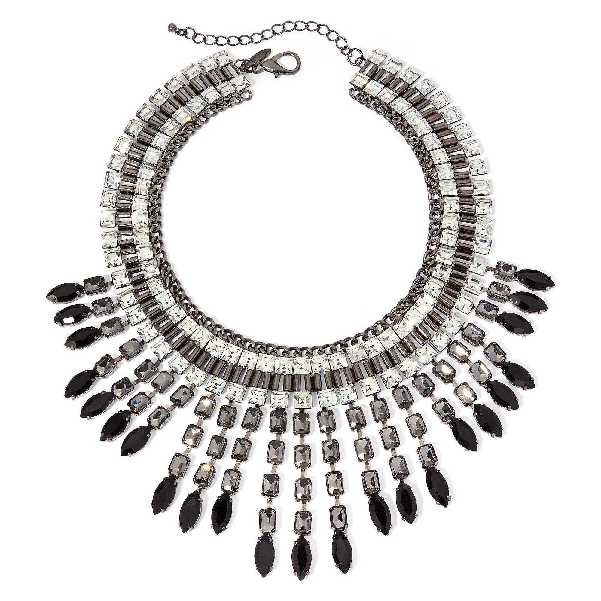 Natasha Crystal and Black Stone Tribal Necklace