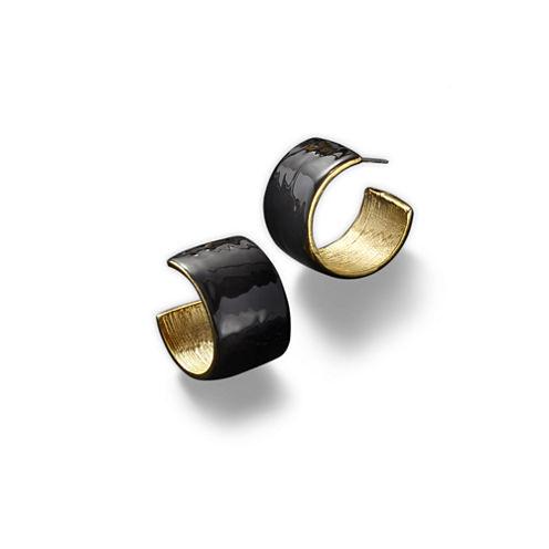 KJL by KENNETH JAY LANE Black Enamel and Gold-Tone Hoop Earrings
