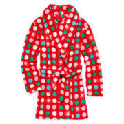 Sleep On It Fleece Polka Dot Snowflake Robe - Girls 7-16