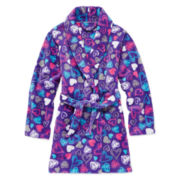 Sleep On It Fleece Heart-Print Robe - Girls 7-16