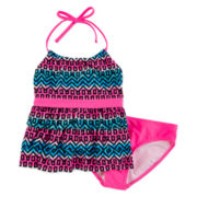 St. Tropez 2-pc. Tiered Tribal-Print Tankini - Girls 7-16