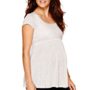 Maternity Short-Sleeve Scoopneck Babydoll T-Shirt - Plus