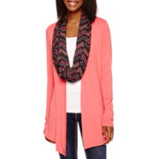Self Esteem® Long-Sleeve Lace-Back Cardigan with Scarf