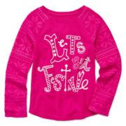 Arizona Long-Sleeve Holiday Tee - Preschool Girls 4-6x