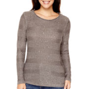 St. John's Bay® Long-Sleeve Striped Sequin Sweater