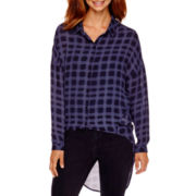 a.n.a® Long-Sleeve High-Low Button-Front Blouse