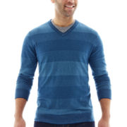 Claiborne® Tonal-Striped Cotton-Cashmere Sweater