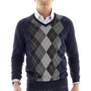 Claiborne® Raker-Stitched Argyle Sweater