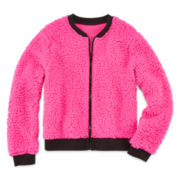 Total Girl® Faux Sherpa Fur Bomber Jacket - Girls 7-16 and Plus