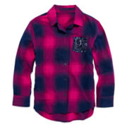 Arizona Sequin-Pocket Flannel Top - Girls 7-16