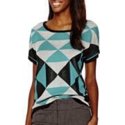 Worthington® Short-Sleeve Mix Print Pullover Sweater - Tall