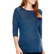 Maternity 3/4-Sleeve Lace-Yoke Crewneck Knit Top