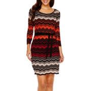 Danny & Nicole® 3/4-Sleeve Belted Sweater Dress