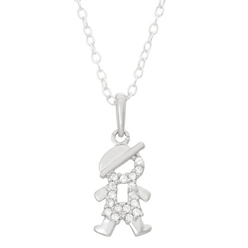 Children's Sterling Silver Open Boy Pendant Necklace