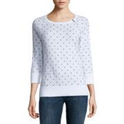 Liz Claiborne 3/4 Sleeve Crew Neck Pullover Sweater