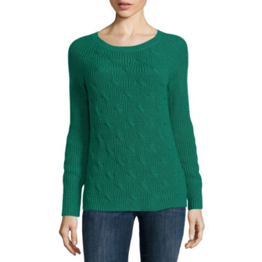 jcpenney.com | Liz Claiborne Long Sleeve Crew Neck Pullover Sweater-Talls