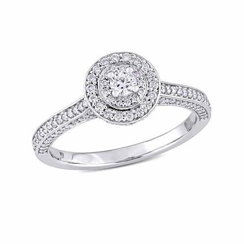 Womens 5/8 CT. T.W. Genuine Round White Diamond 14K Gold Engagement Ring