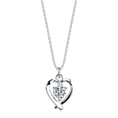 jcpenney.com | Footnotes® Sterling Silver Cubic Zirconia Heart Mom Pendant Necklace